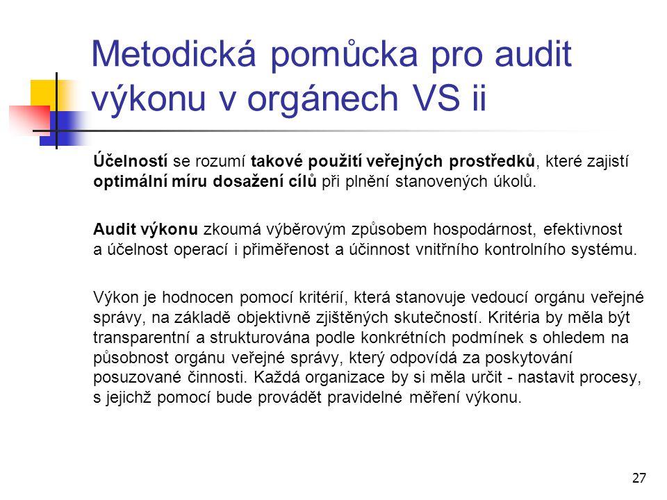 Metodická pomůcka pro audit výkonu v orgánech VS ii