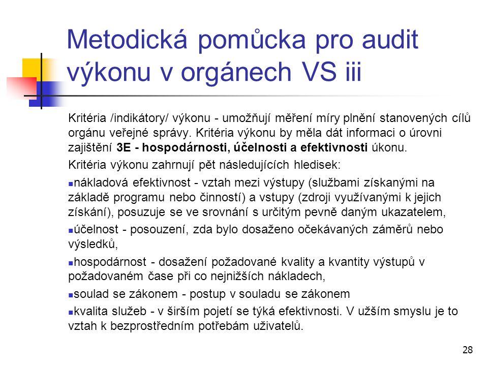 Metodická pomůcka pro audit výkonu v orgánech VS iii
