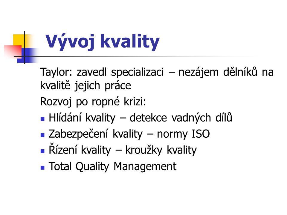 Vývoj kvality Taylor: zavedl specializaci – nezájem dělníků na kvalitě jejich práce. Rozvoj po ropné krizi: