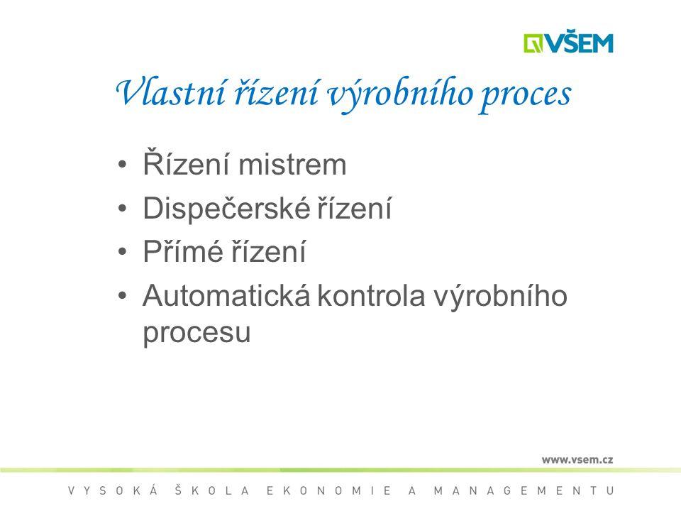 Vlastní řízení výrobního proces