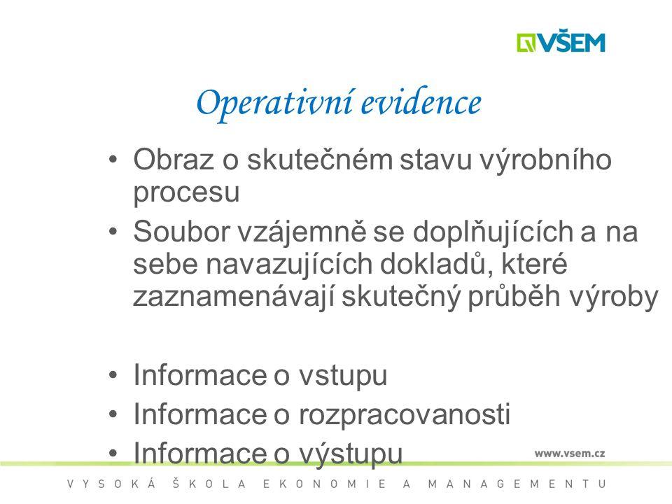 Operativní evidence Obraz o skutečném stavu výrobního procesu