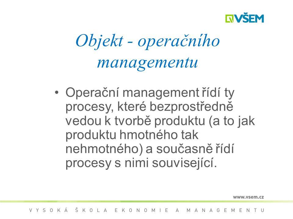 Objekt - operačního managementu