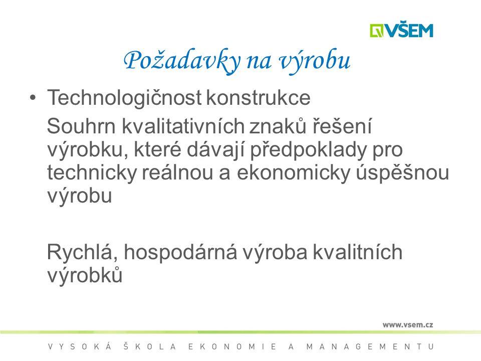 Požadavky na výrobu Technologičnost konstrukce