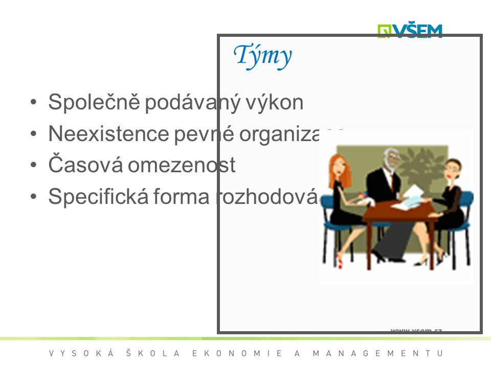 Týmy Společně podávaný výkon Neexistence pevné organizace