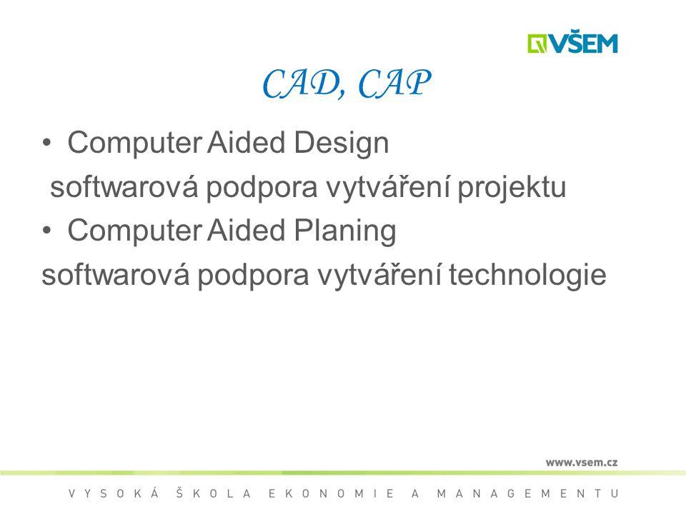 CAD, CAP Computer Aided Design softwarová podpora vytváření projektu