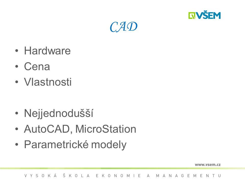 CAD Hardware Cena Vlastnosti Nejjednodušší AutoCAD, MicroStation