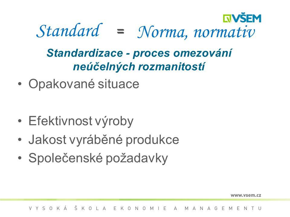 Standardizace - proces omezování neúčelných rozmanitostí