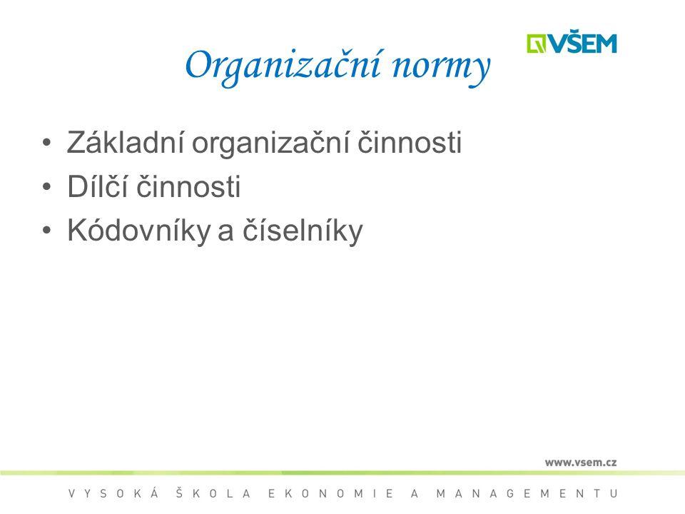 Organizační normy Základní organizační činnosti Dílčí činnosti