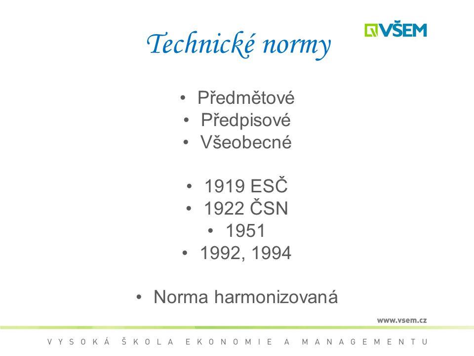 Technické normy Předmětové Předpisové Všeobecné 1919 ESČ 1922 ČSN 1951