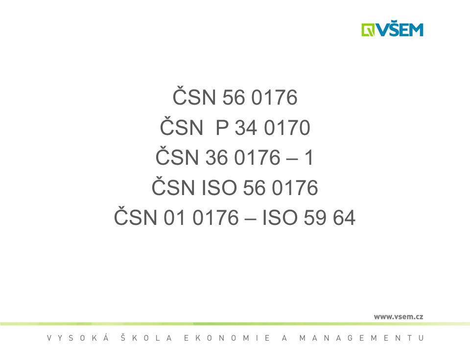 ČSN 56 0176 ČSN P 34 0170 ČSN 36 0176 – 1 ČSN ISO 56 0176 ČSN 01 0176 – ISO 59 64
