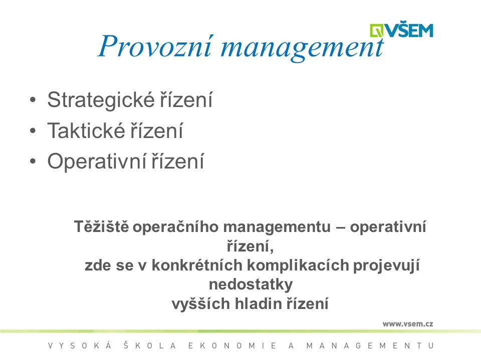 Provozní management Strategické řízení Taktické řízení