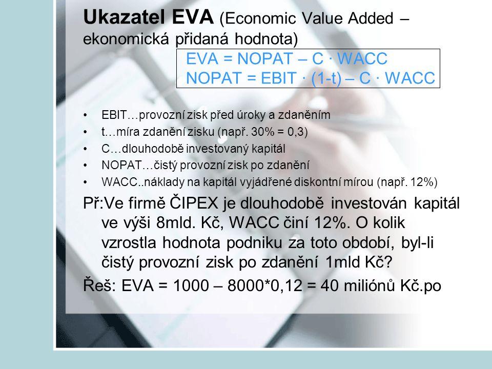 Ukazatel EVA (Economic Value Added – ekonomická přidaná hodnota)