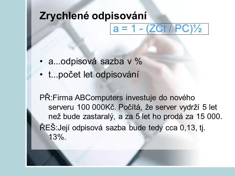 Zrychlené odpisování a = 1 - (ZCt / PC)½
