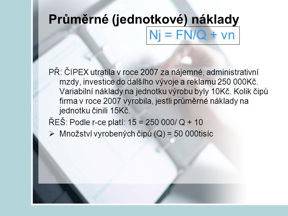 Průměrné (jednotkové) náklady Nj = FN/Q + vn