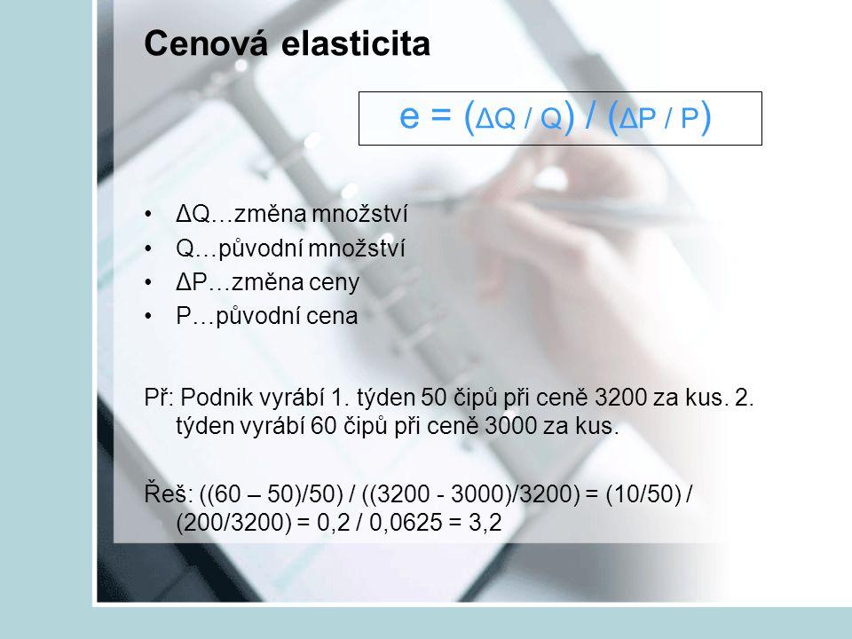 Cenová elasticita e = (ΔQ / Q) / (ΔP / P)