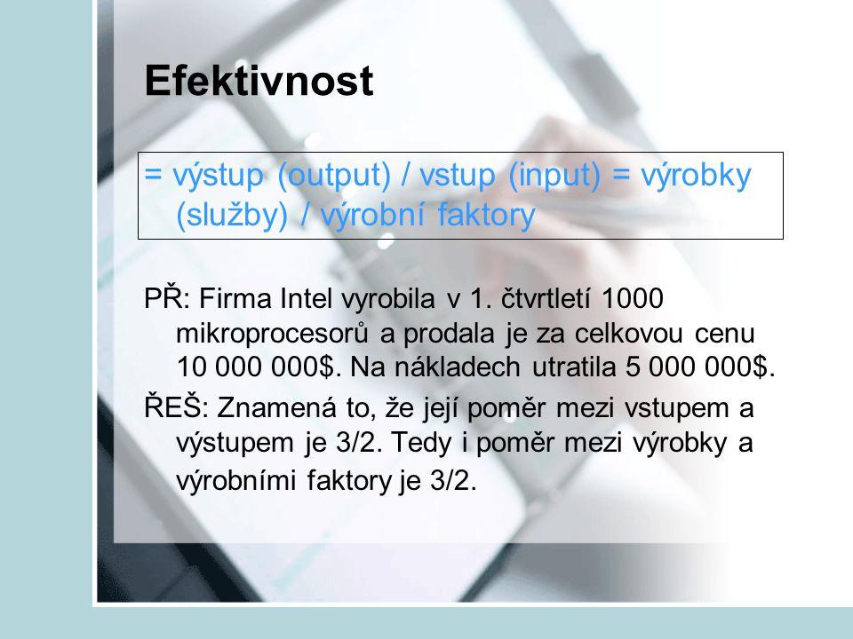 Efektivnost = výstup (output) / vstup (input) = výrobky (služby) / výrobní faktory.