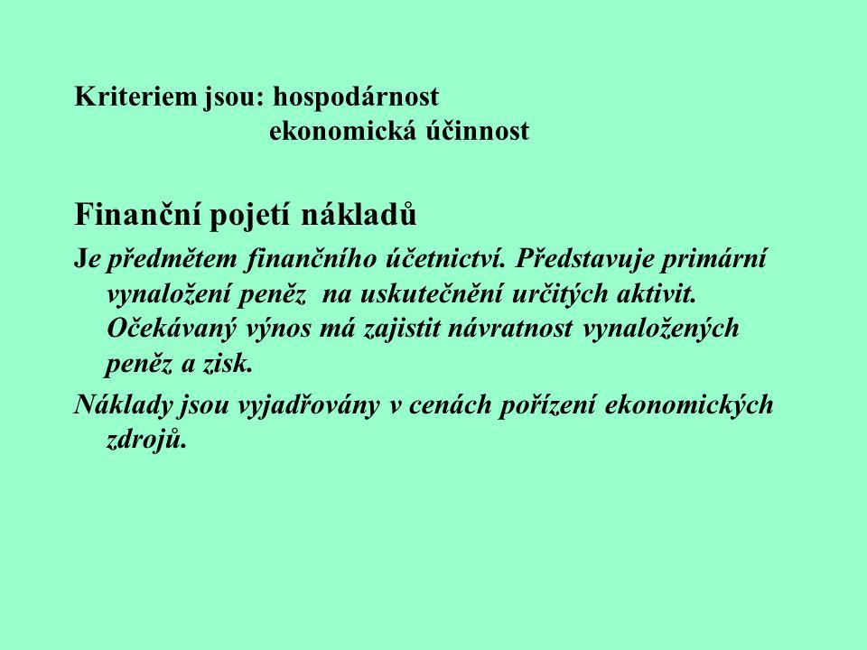 Kriteriem jsou: hospodárnost ekonomická účinnost