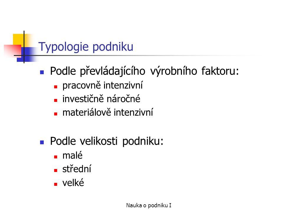 Typologie podniku Podle převládajícího výrobního faktoru: