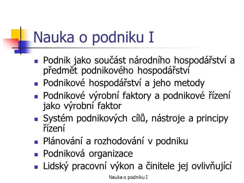 Nauka o podniku I Podnik jako součást národního hospodářství a předmět podnikového hospodářství. Podnikové hospodářství a jeho metody.