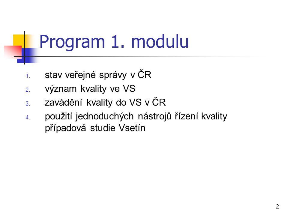 Program 1. modulu stav veřejné správy v ČR význam kvality ve VS
