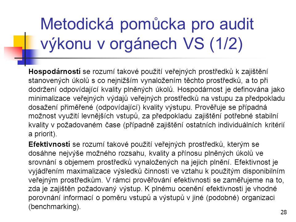 Metodická pomůcka pro audit výkonu v orgánech VS (1/2)