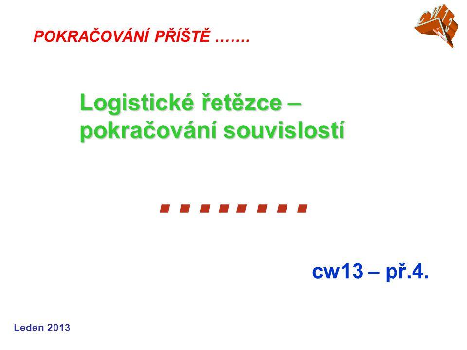 …..… Logistické řetězce – pokračování souvislostí cw13 – př.4. CW13
