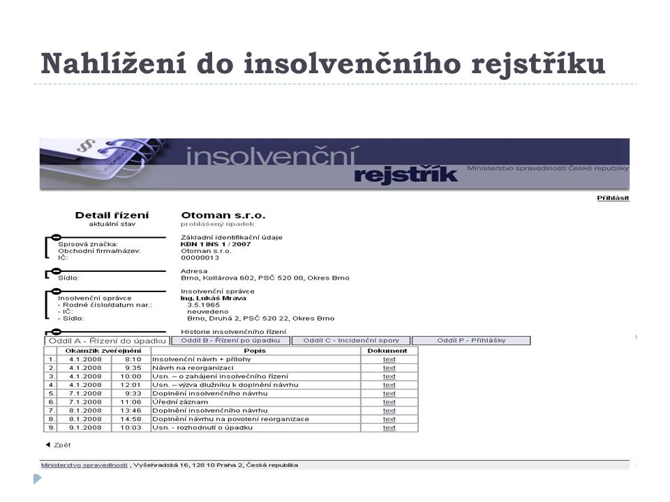 Nahlížení do insolvenčního rejstříku