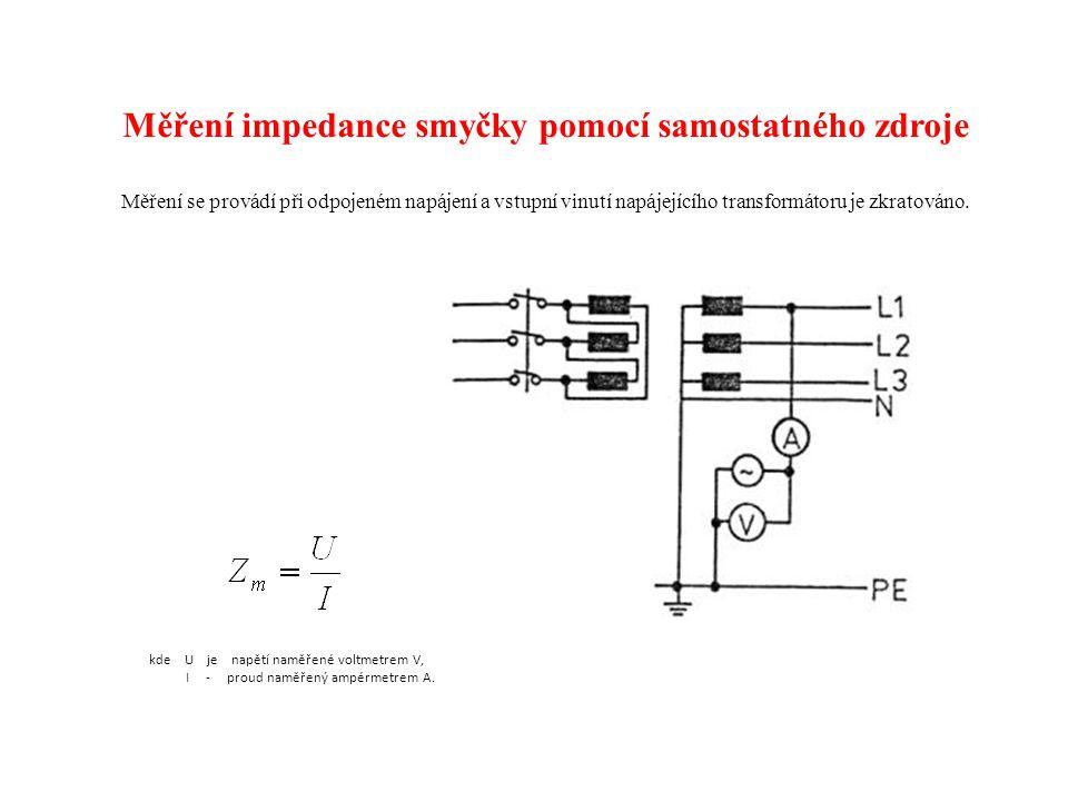 Měření impedance smyčky pomocí samostatného zdroje