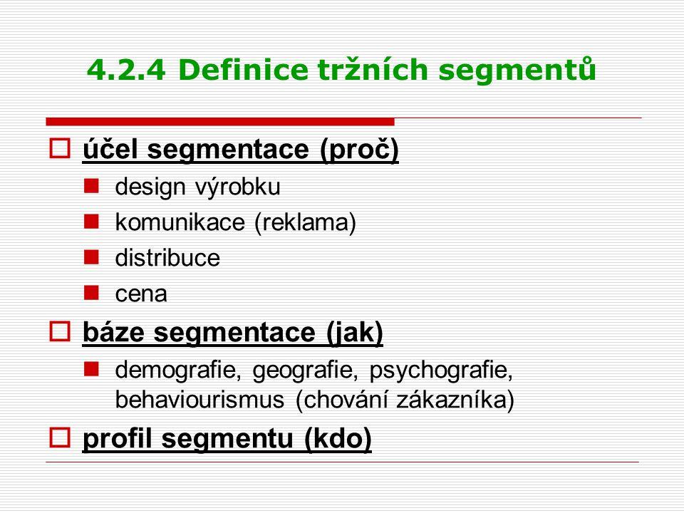 4.2.4 Definice tržních segmentů