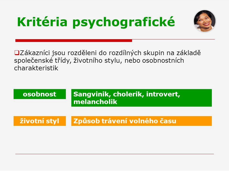 Kritéria psychografické