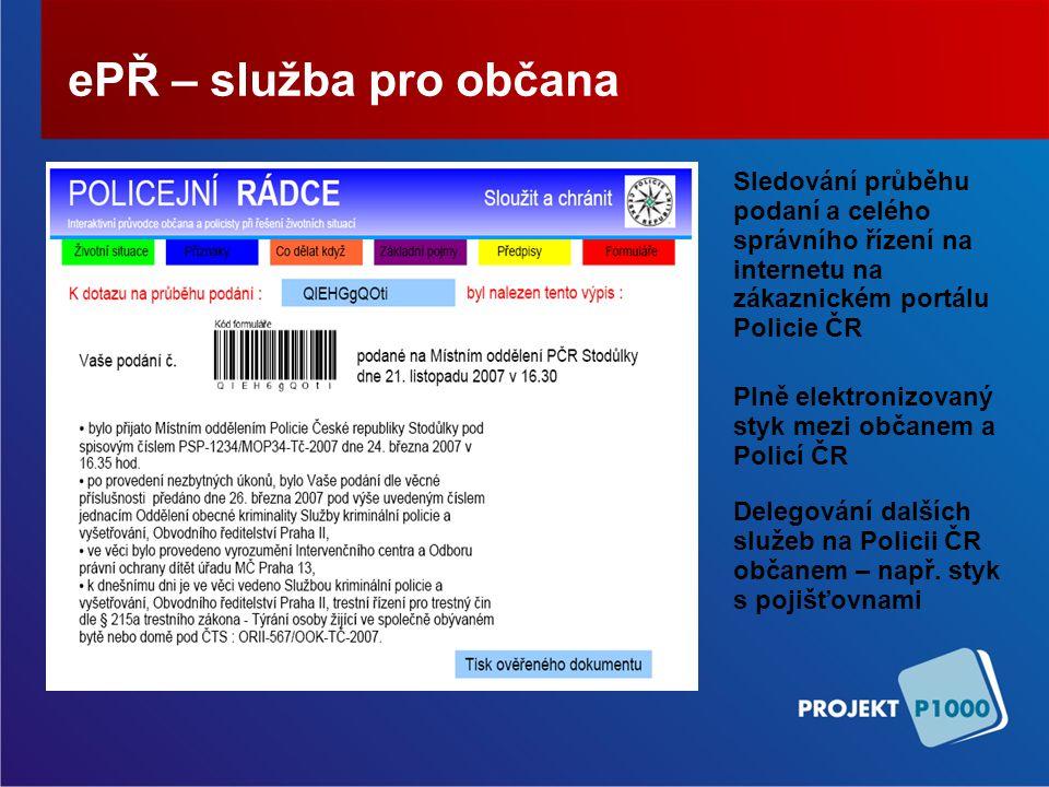 ePŘ – služba pro občana Sledování průběhu podaní a celého správního řízení na internetu na zákaznickém portálu Policie ČR.