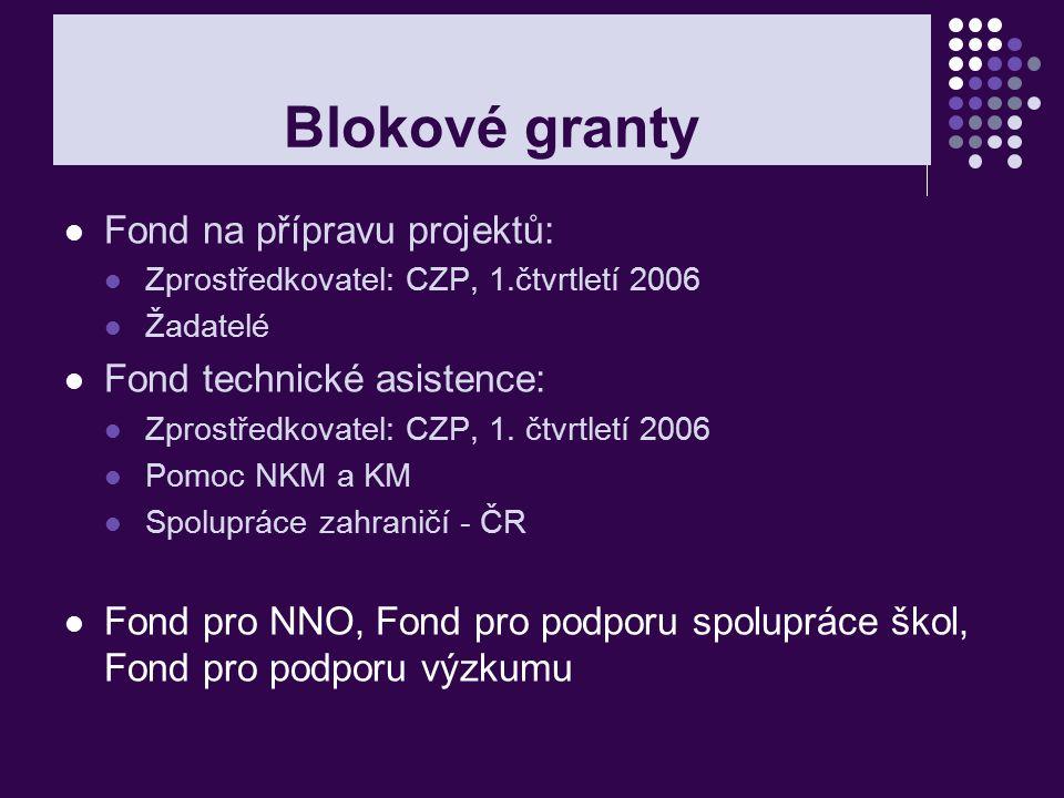 Blokové granty Fond na přípravu projektů: Fond technické asistence: