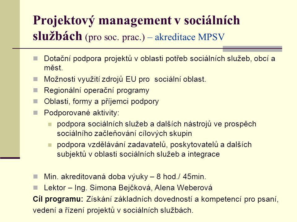 Projektový management v sociálních službách (pro soc. prac