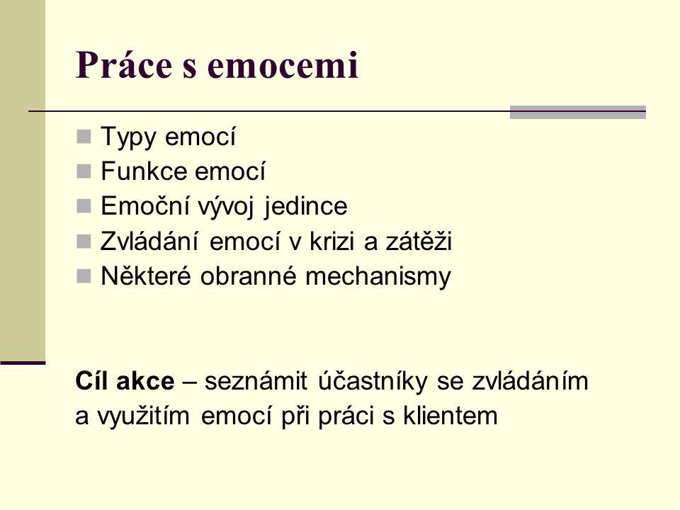 Práce s emocemi Typy emocí Funkce emocí Emoční vývoj jedince