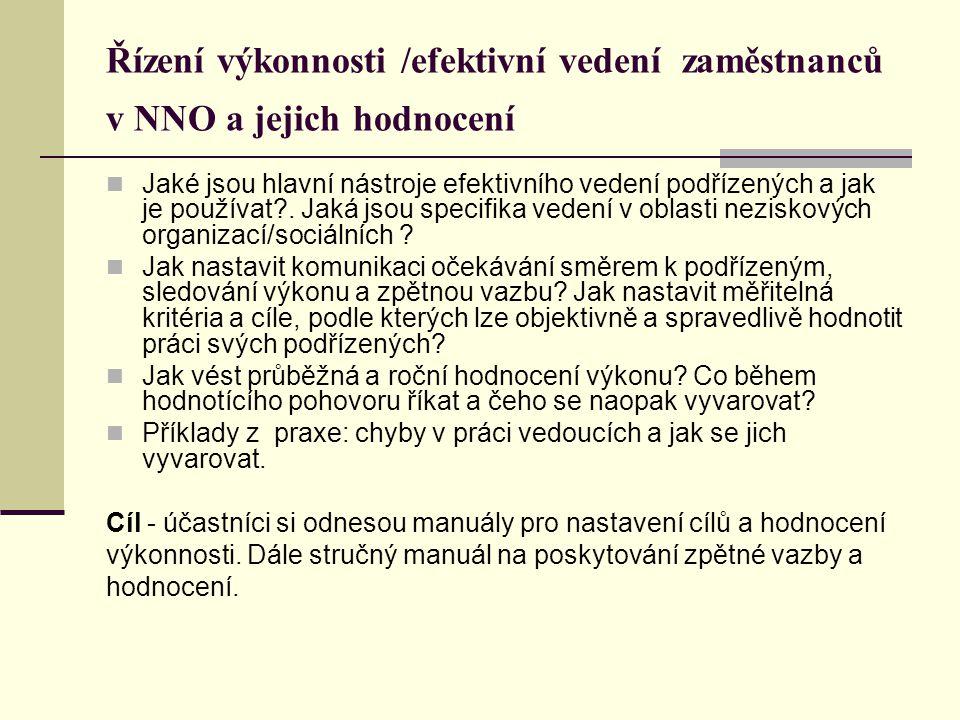 Řízení výkonnosti /efektivní vedení zaměstnanců v NNO a jejich hodnocení