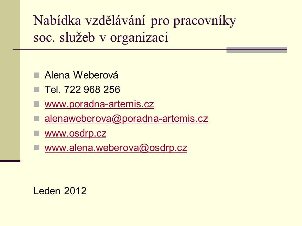 Nabídka vzdělávání pro pracovníky soc. služeb v organizaci