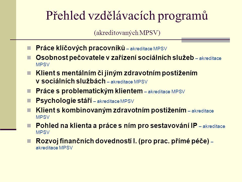 Přehled vzdělávacích programů (akreditovaných MPSV)