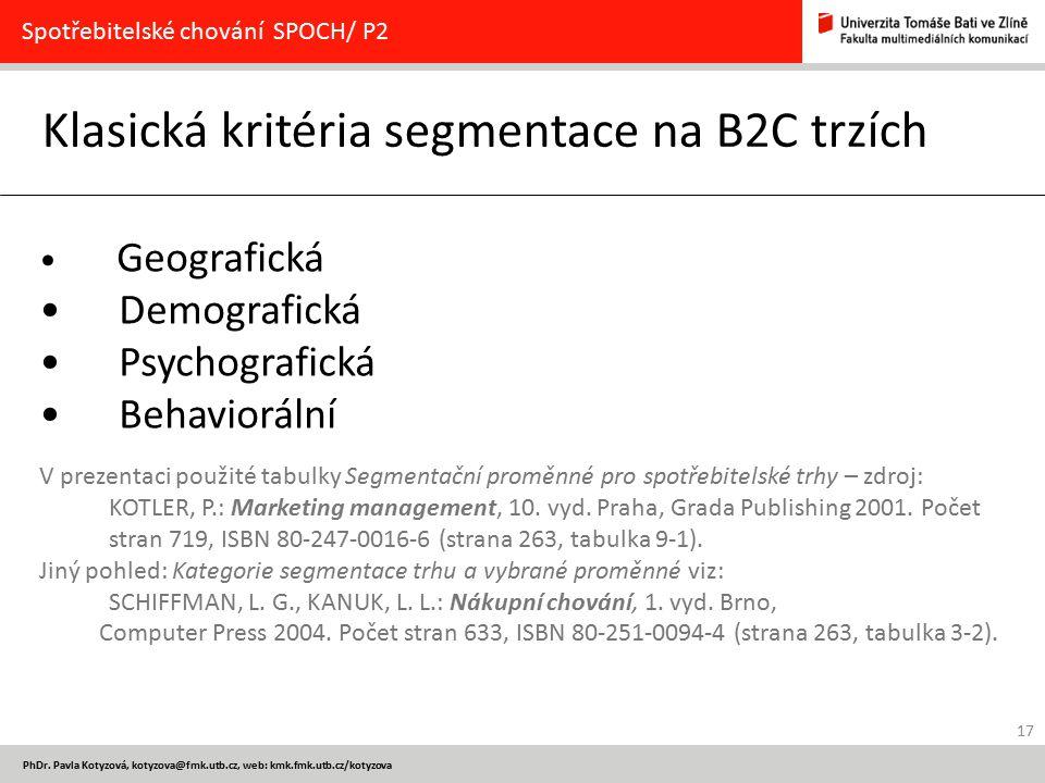 Klasická kritéria segmentace na B2C trzích