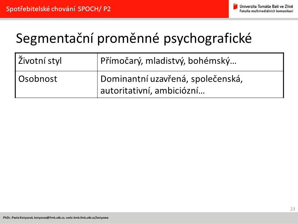 Segmentační proměnné psychografické