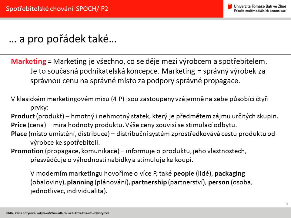 Spotřebitelské chování SPOCH/ P2