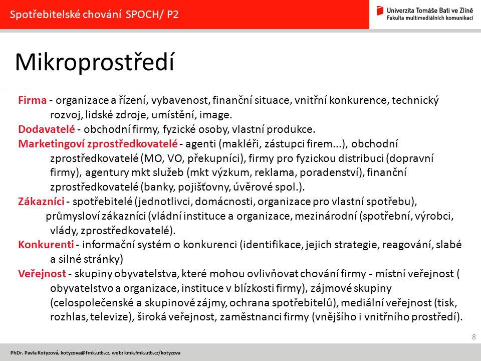 Mikroprostředí Spotřebitelské chování SPOCH/ P2