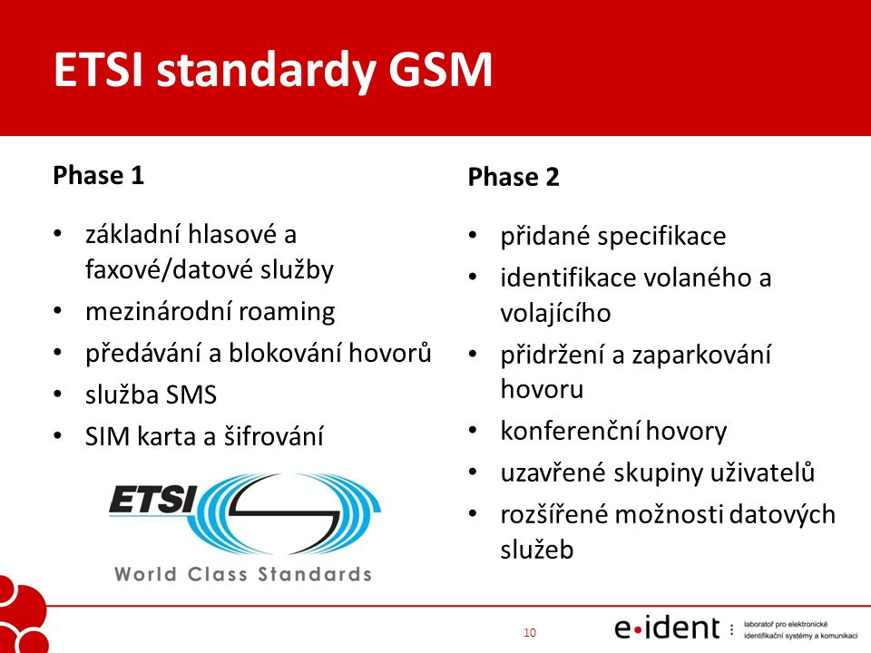 ETSI standardy GSM Phase 1 Phase 2
