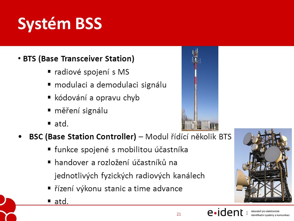 Systém BSS BTS (Base Transceiver Station) radiové spojení s MS