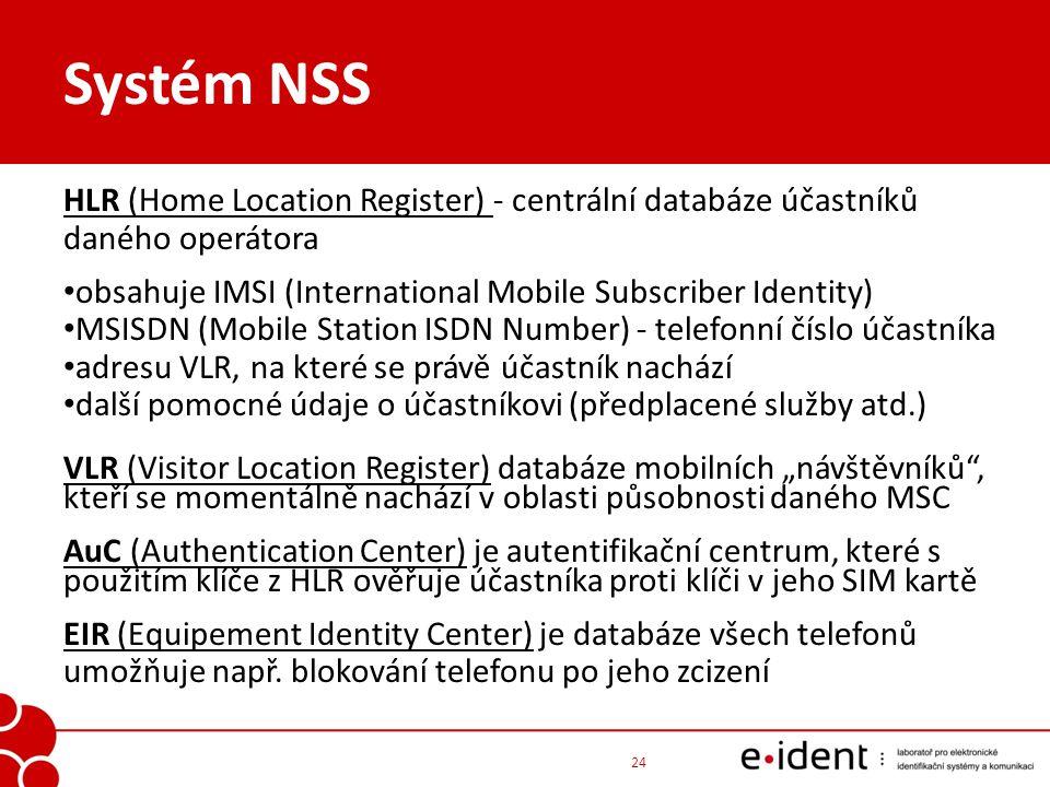 Systém NSS HLR (Home Location Register) - centrální databáze účastníků