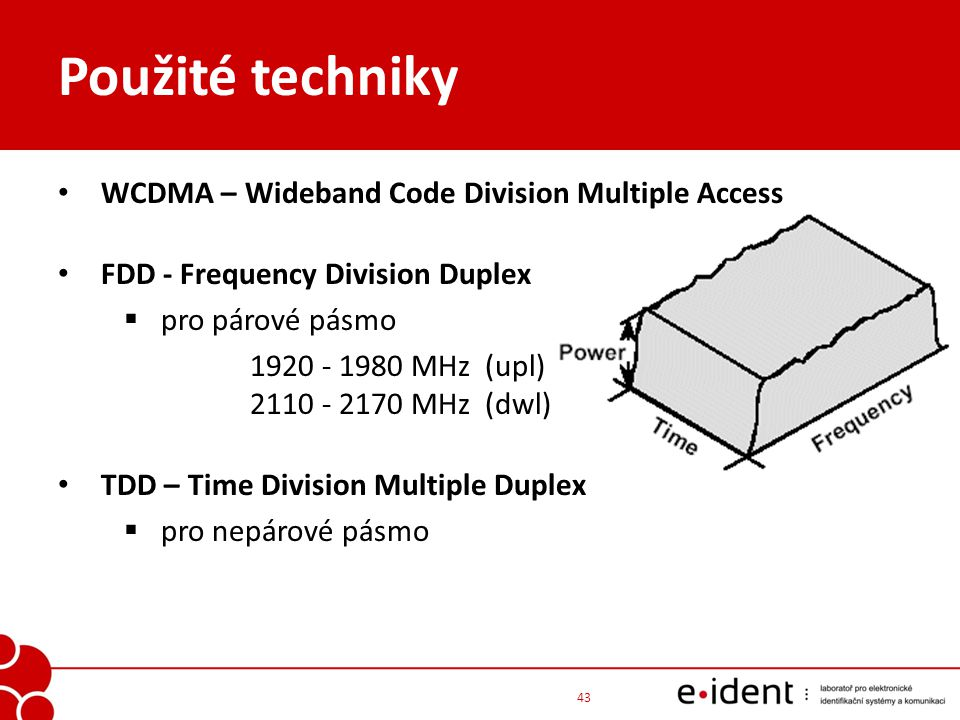 Použité techniky WCDMA – Wideband Code Division Multiple Access