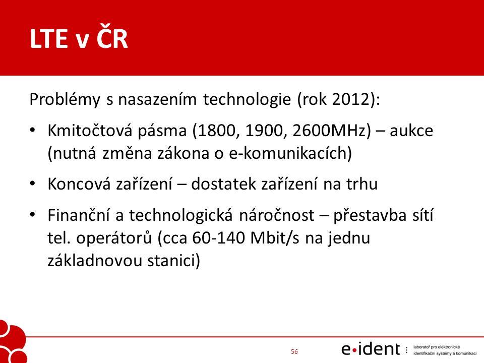 LTE v ČR Problémy s nasazením technologie (rok 2012):