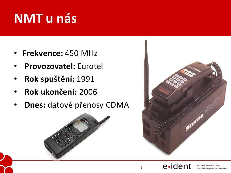 NMT u nás Frekvence: 450 MHz Provozovatel: Eurotel Rok spuštění: 1991