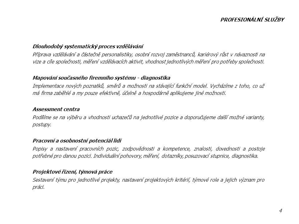 PROFESIONÁLNÍ SLUŽBY Dlouhodobý systematický proces vzdělávání.