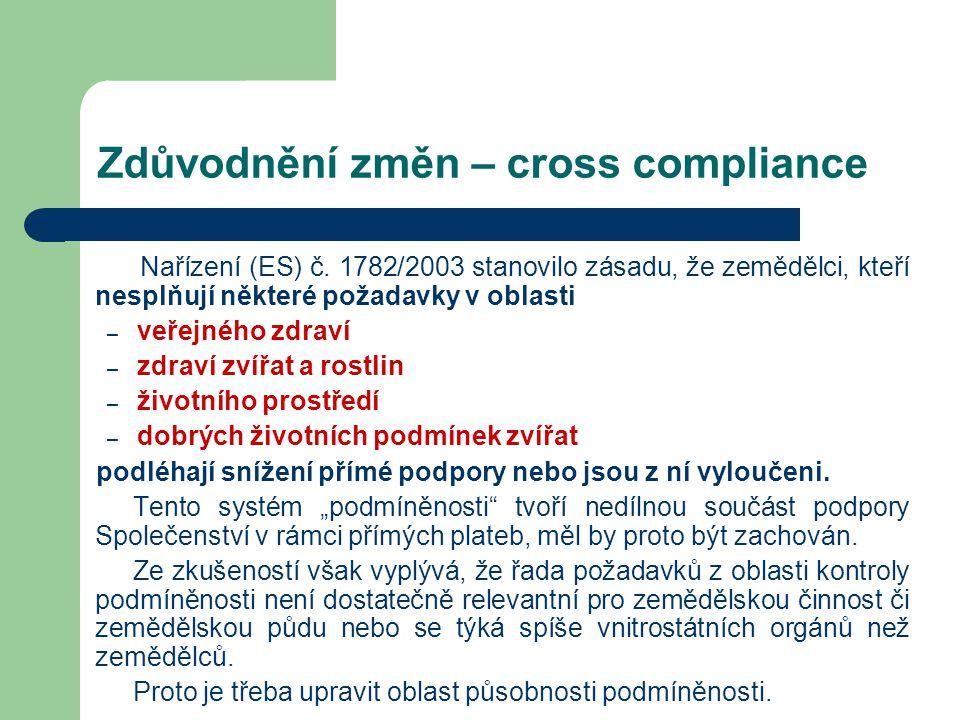 Zdůvodnění změn – cross compliance