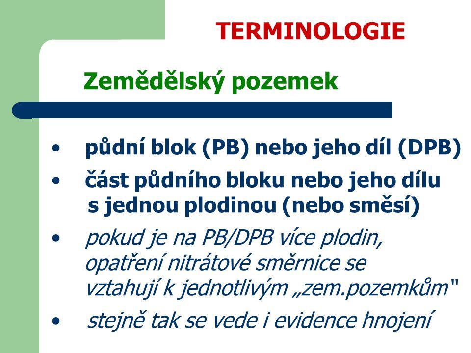 TERMINOLOGIE půdní blok (PB) nebo jeho díl (DPB)